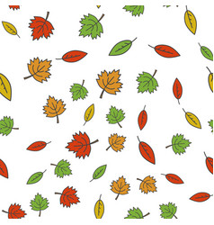 Autumn colorful tree leaves seamless pattern vector