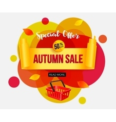 Autumn sale banner template for shop online store vector image