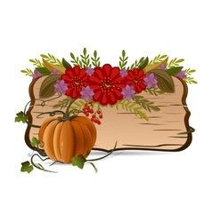 Autumn still life with pumpkin flowers and vector