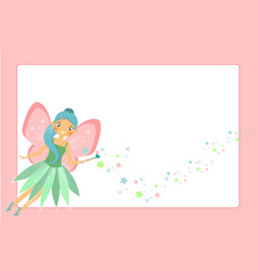 Beautiful flying fairy character with pink wings vector