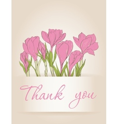 Card with crocus spring flowers vector
