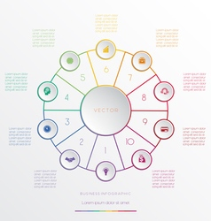 Circle from 10 coloured lines vector image vector image