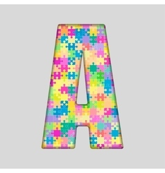 Color piece puzzle jigsaw letter - a vector