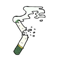 comic cartoon broken marijuana cigarette vector image vector image