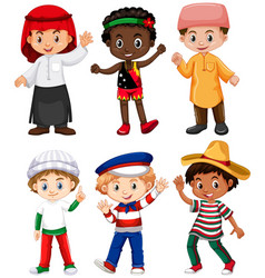 different nationalities of boys vector image vector image