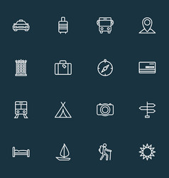 Exploration icons line style set with building vector