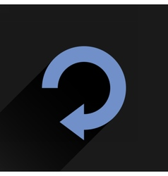 Flat blue arrow icon refresh rotation repeat sign vector