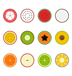 Fruit icon set flat design slice half vector
