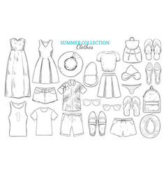 Hand drawn summer wardrobe elements set vector