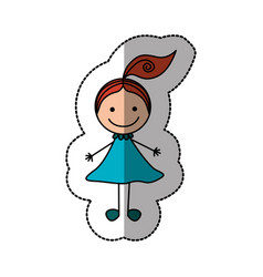Happy girl with one tail icon vector