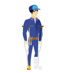 injured mechanic with broken leg vector image vector image