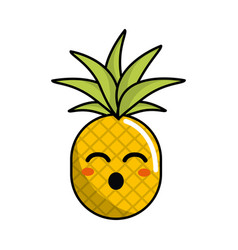 Kawaii cute funny pineapple vegetable vector