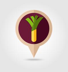leek flat pin map icon vegetable vector image vector image
