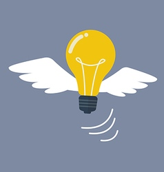 Light bulb flying like a bird vector