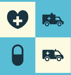 Medicine icons set collection of first-aid heal vector