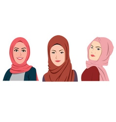 Muslim girls avatars set asian traditional hijab vector