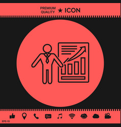 presentation sign icon man standing with pointer vector image