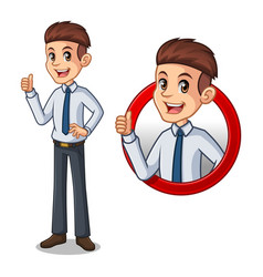 set of businessman in shirt inside the circle logo vector image