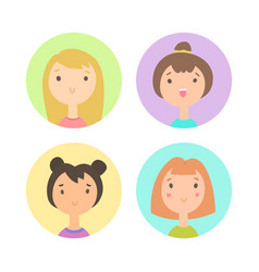 Set of four girls faces vector