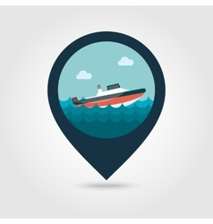 Speed boat pin map icon Summer Vacation vector image