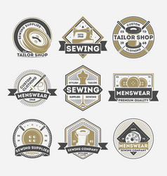 tailor sewing company vintage isolated label set vector image