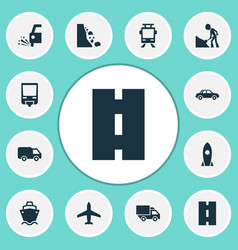 Transport icons set with slippery streetcar vector