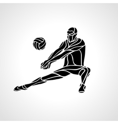 Volleyball player receive ball silhouette vector image