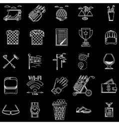 White outline icons for golf vector image
