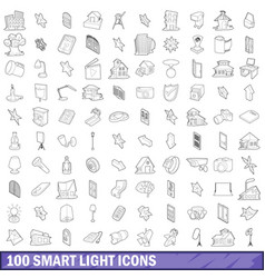 100 smart light icons set outline style vector image