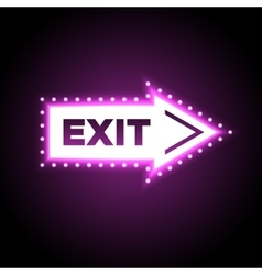 Illuminated arrow shaped 3d exit sign vector