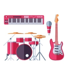 Musical instruments flat icons for music vector