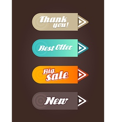 Four colored paper arrows with general text vector