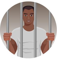 black skin man behind bars in round button vector image