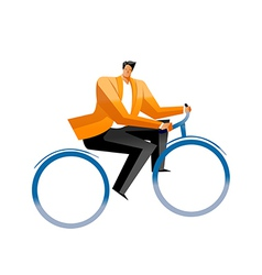Side view of man sitting on cycle vector