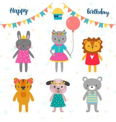 Set of cute cartoon animals for happy birthday vector