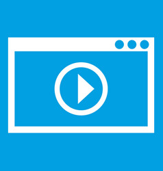 Program for video playback icon white vector