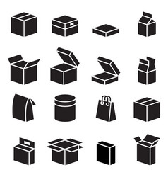 Silhouette box packaging icon vector