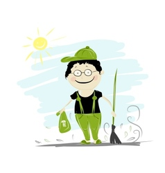 Funny janitor with broom for your design vector image