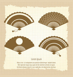 Japan fan collection on vintage background vector