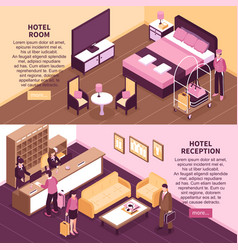 Colored isometric hotel banner set vector