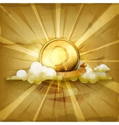 Gold coin old style background vector image