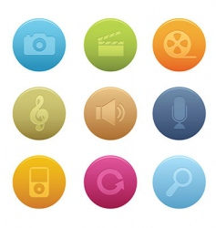 Circle multimedia icons vector