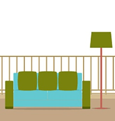 Sofa with modern lamp on balcony vector