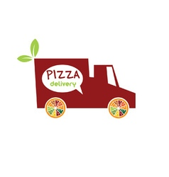 Pizza delivery truck vector