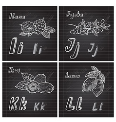 Hand drawn fruits alphabet vector