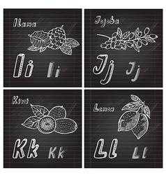 hand drawn fruits alphabet vector image