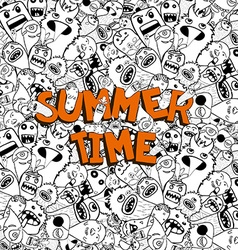 Hello summer time doodle hipster background vector image