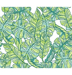 Exotic leaves rainforest seamless hand drawn vector
