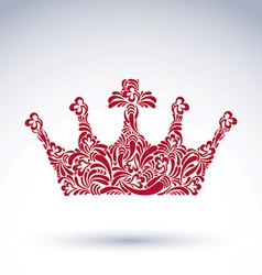 Luxury flower-patterned crown with christianity vector