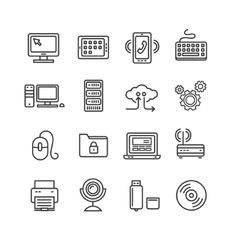Computer technology outline icon set vector